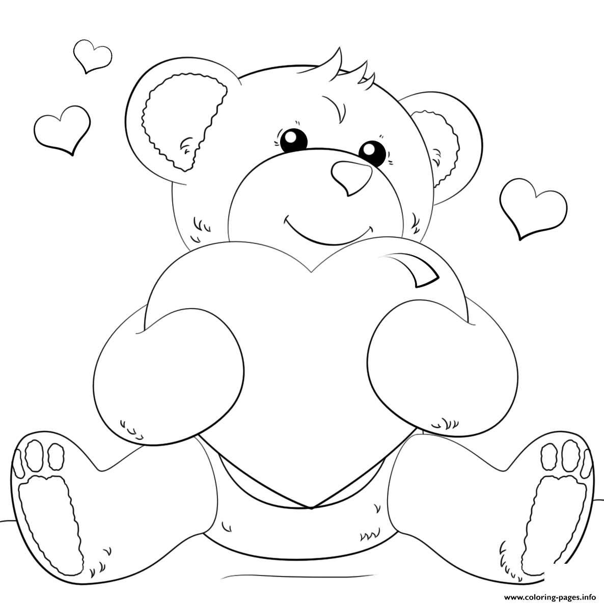 Bear And Heart Coloring Pages Printable