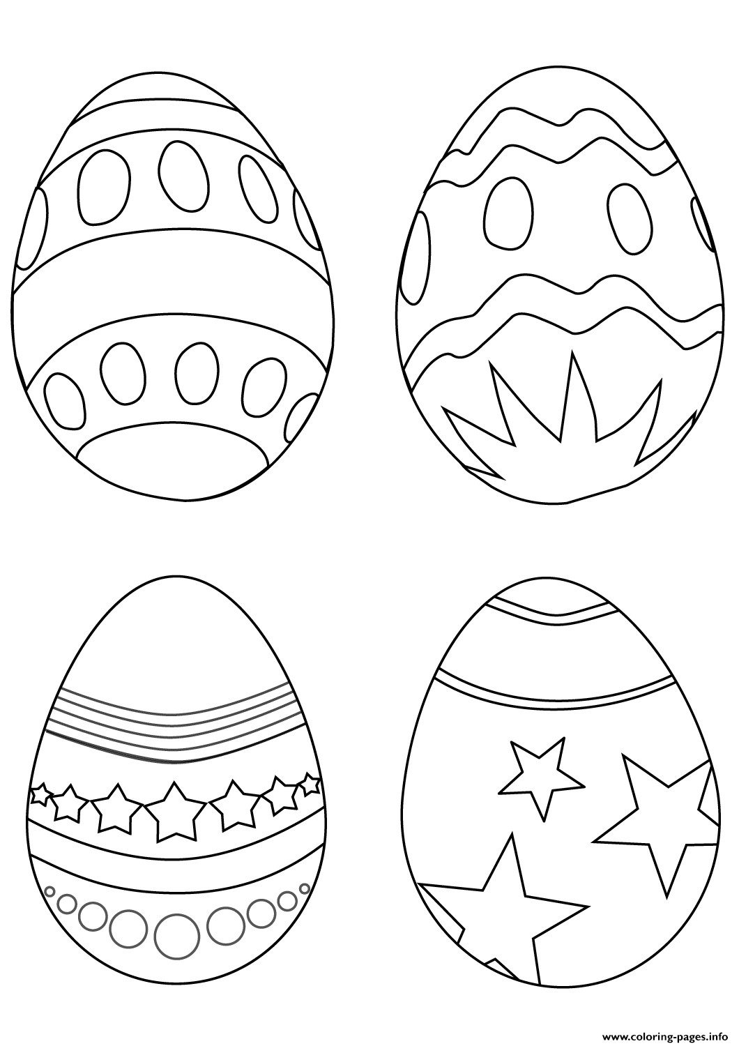 Simple Easter Eggs Coloring Pages Printable