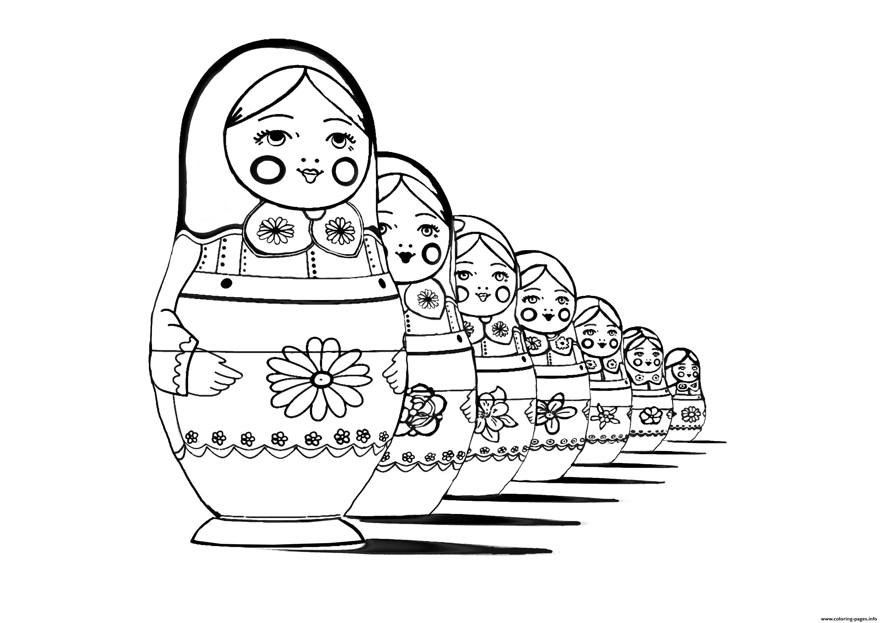 Adult Russian Dolls Perspective Coloring Pages Printable