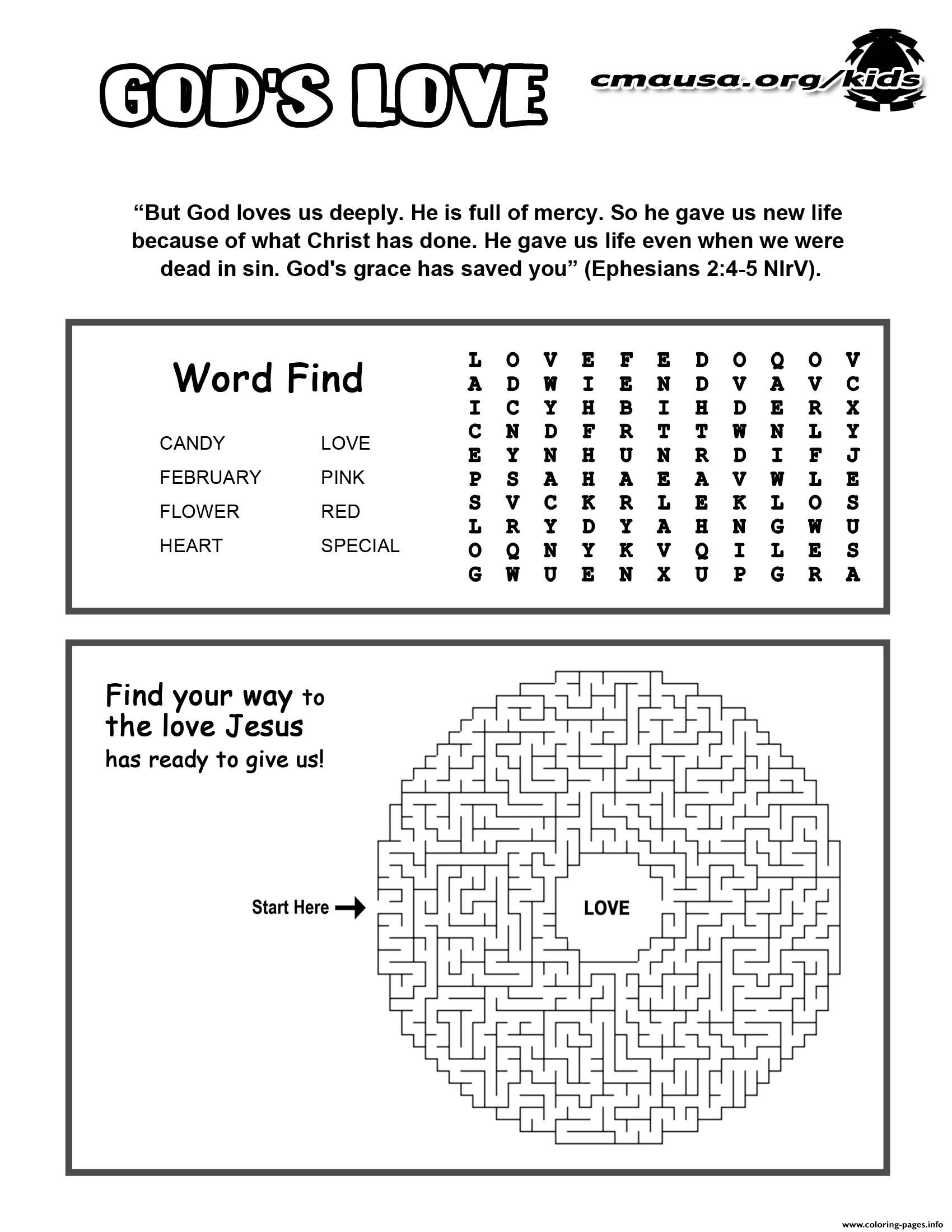 Jesus Gods Love Activity Sheet Religion Coloring Pages Printable