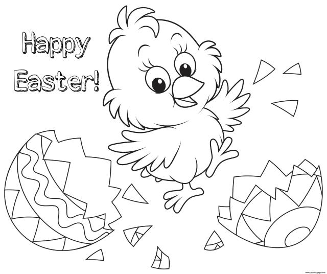 Happy Easter Chick Egg Coloring Pages Printable