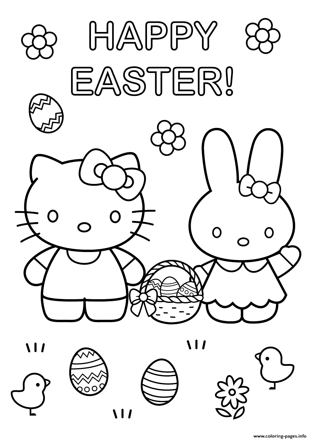 Hello Kitty With Easter Bunny Coloring Pages Printable
