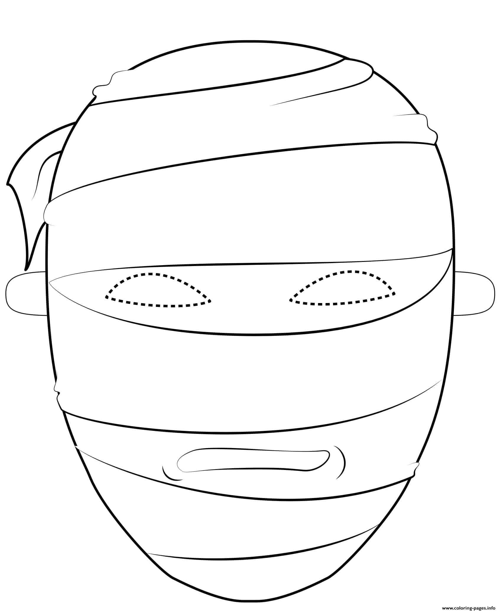 Egyptian Mummy Mask Outline Halloween Coloring Pages Printable