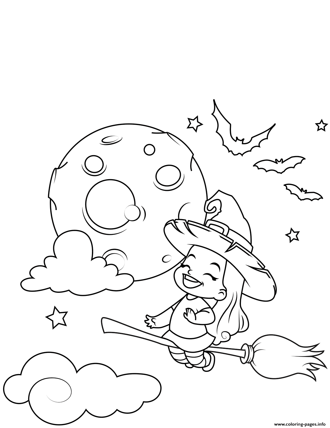 Cute Little Witch Flying On A Broomstick Halloween