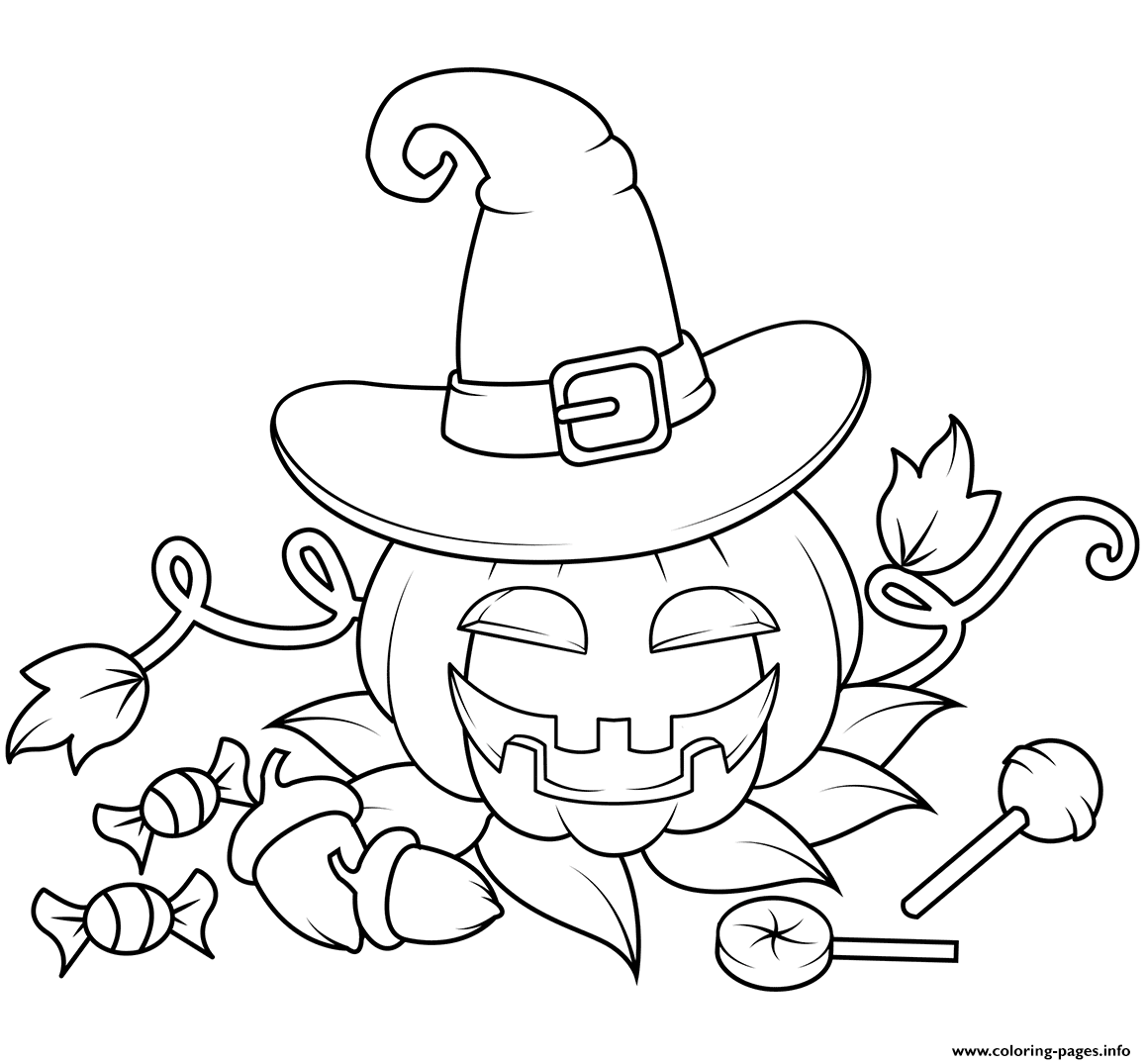 Jack O Lantern In A Witch Hat With Can S Halloween