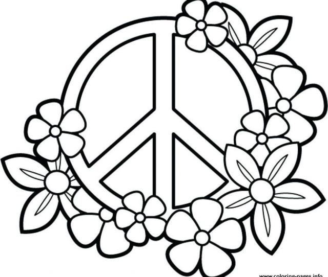 Peace Flowers For Teenage Girls Coloring Pages Printable