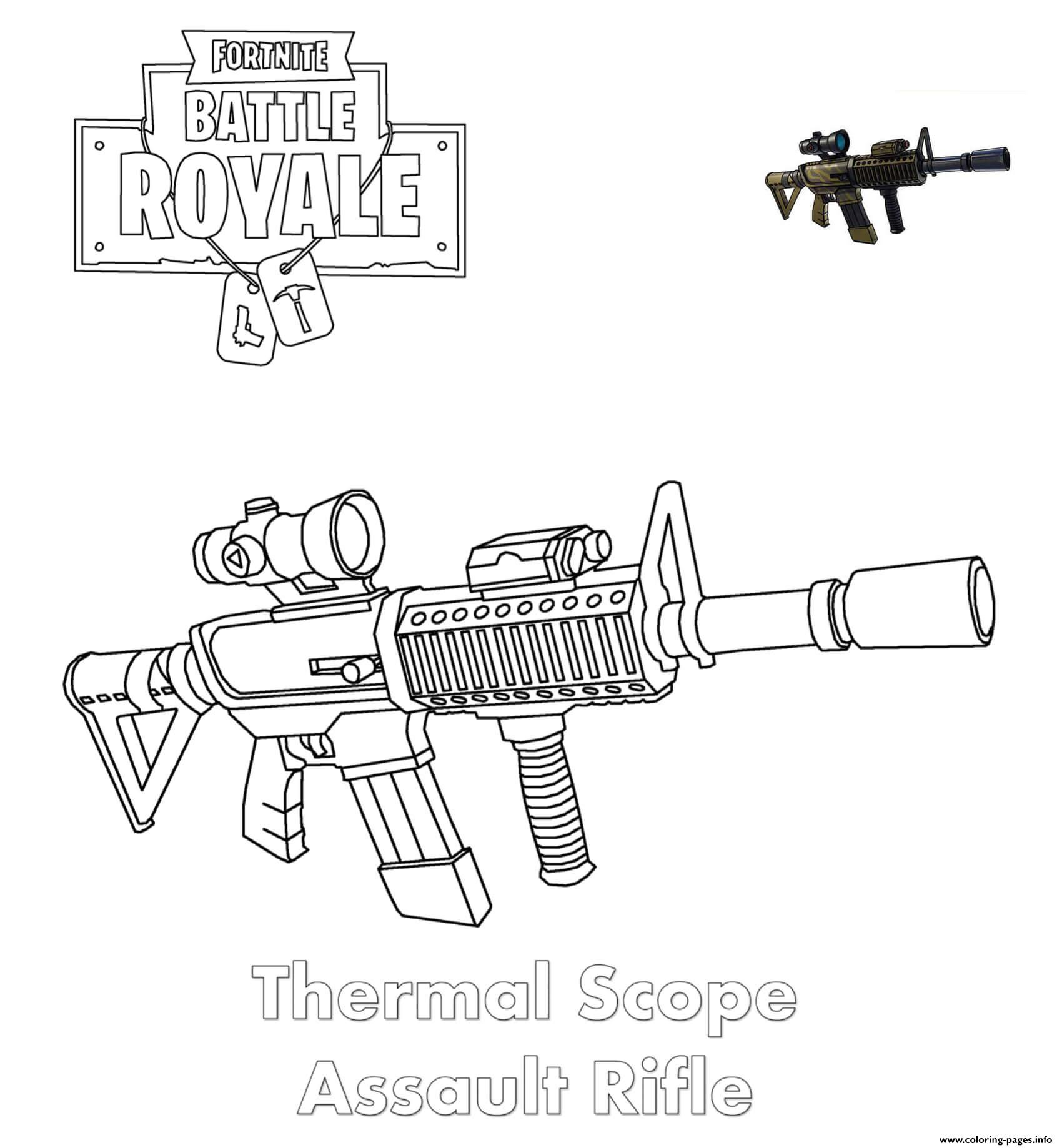 Thermal Scope Assault Rifle Fortnite Coloring Pages Printable