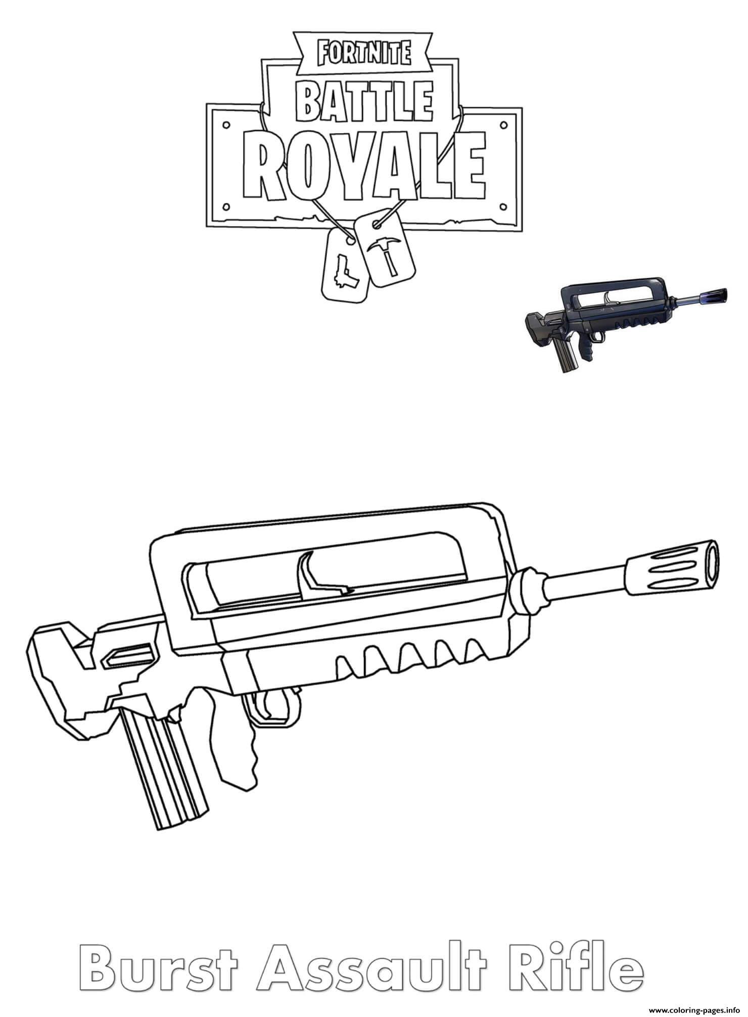 Burst Assault Rifle Fortnite Coloring Pages Printable