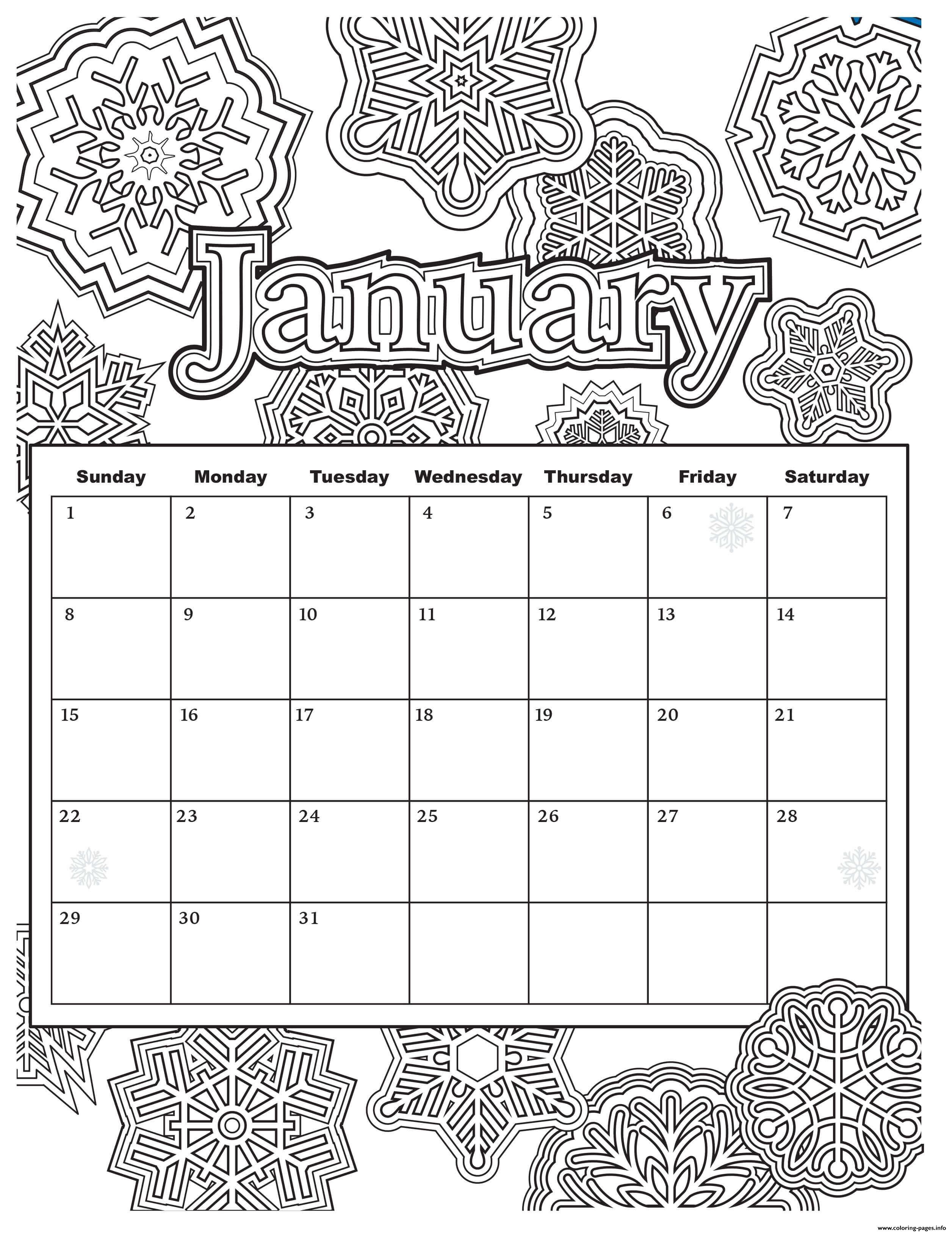 January Calendar Coloring Pages Printable