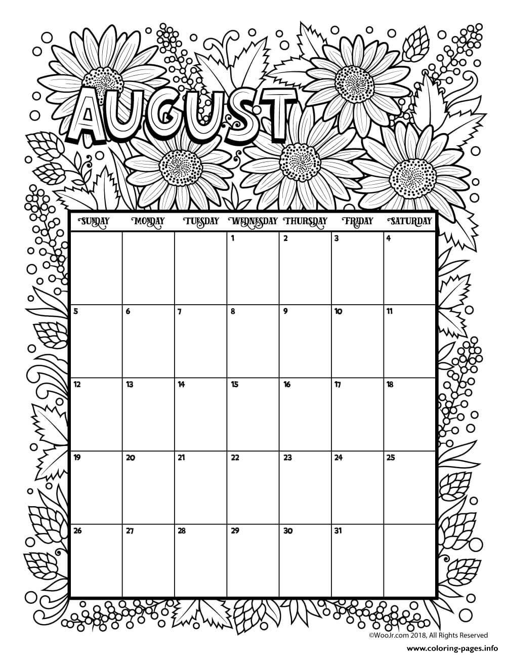 01/05/2021· blankcalendarpages.com is a united states based website that brings you simple, elegant calendar pages (mainly english). August Calendar Coloring Pages Printable