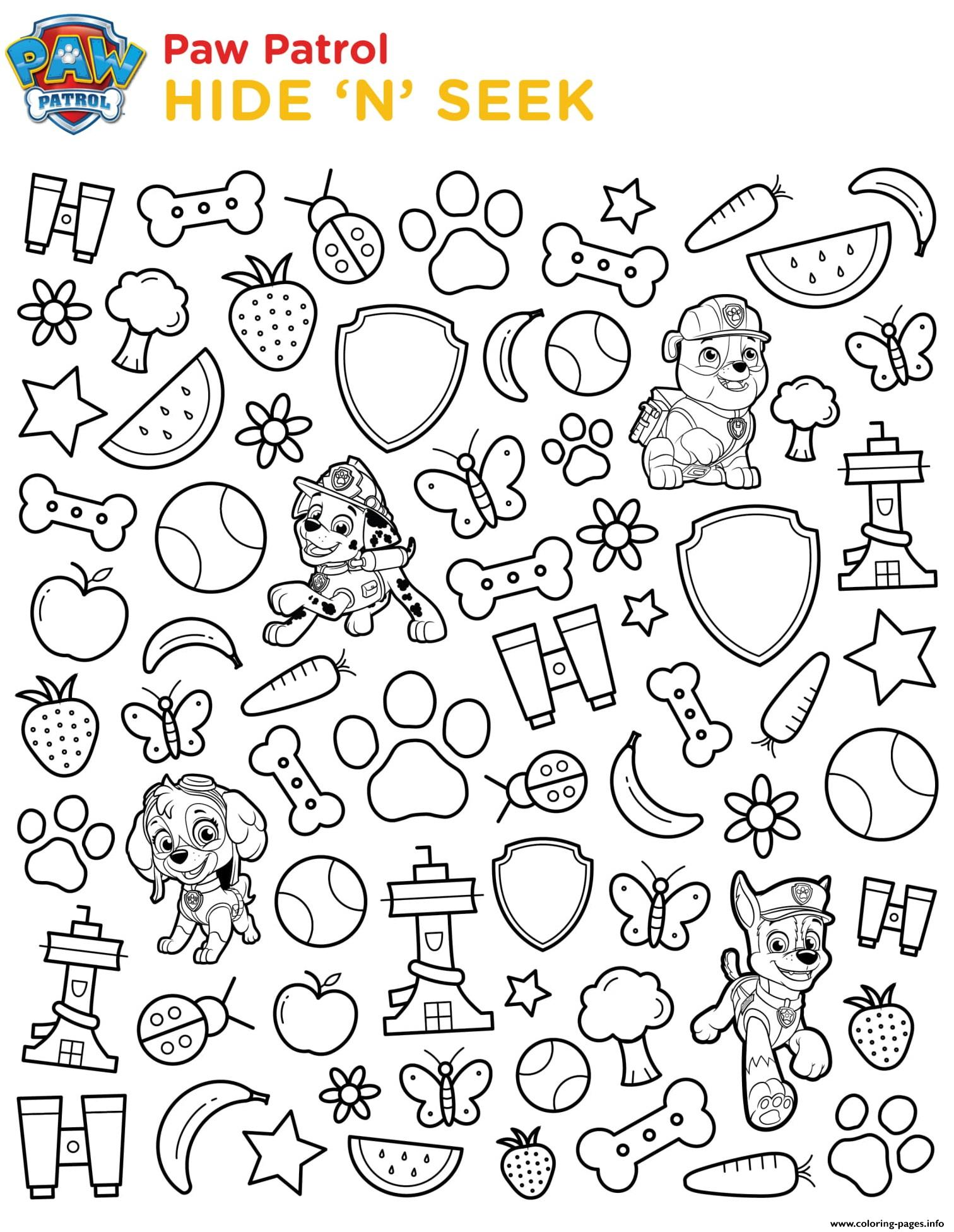 Hide And Seek Paw Patrol Coloring Pages Printable
