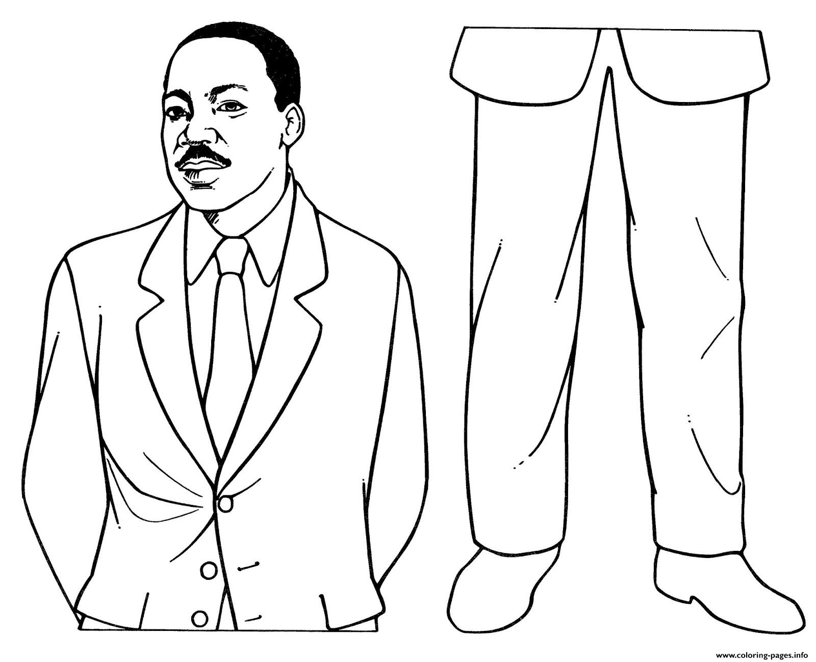 Mlk Martin Luther King Day Paper Dolls Coloring Pages Printable