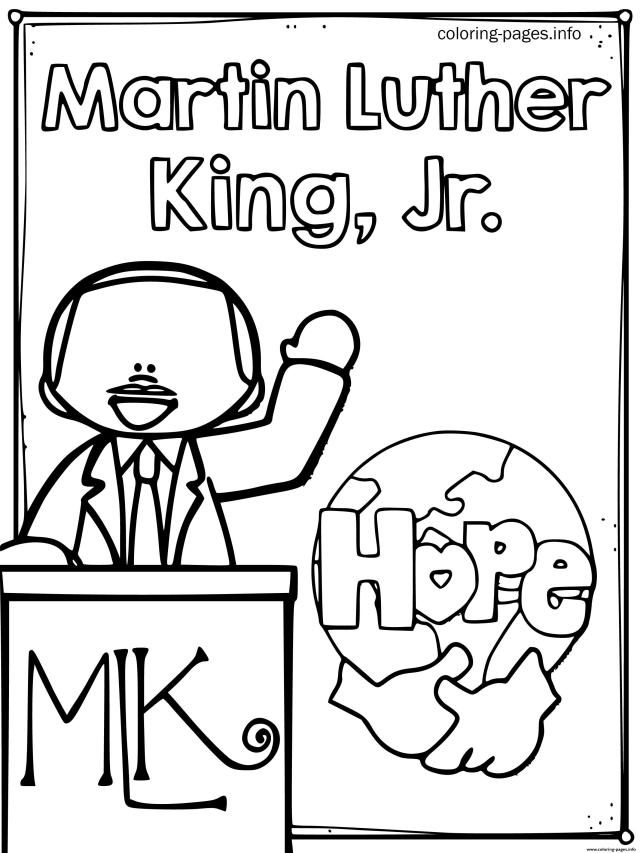 Martin King Jr Day Hope Coloring Pages Printable