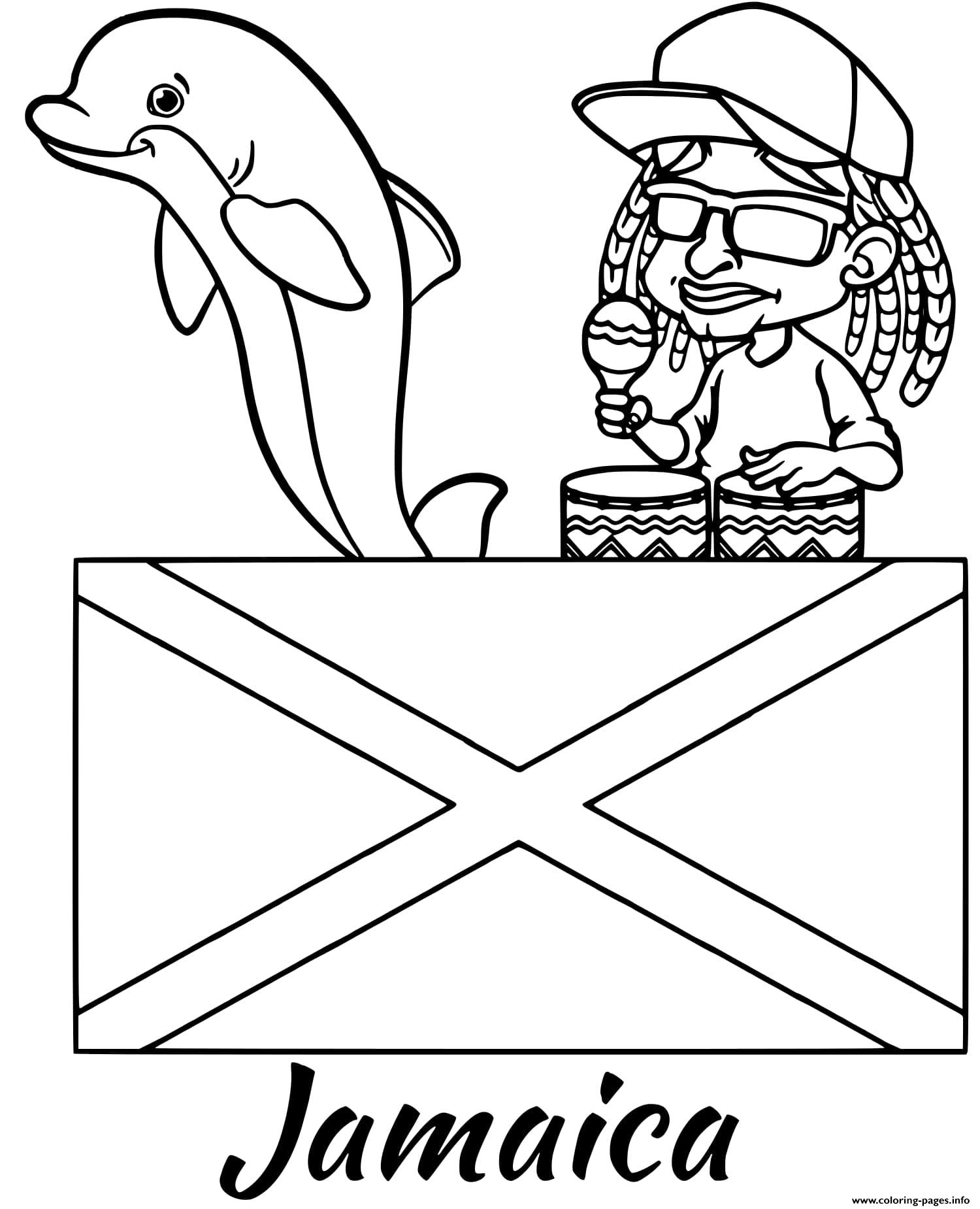 Jamaica Flag Reggae Coloring Pages Printable