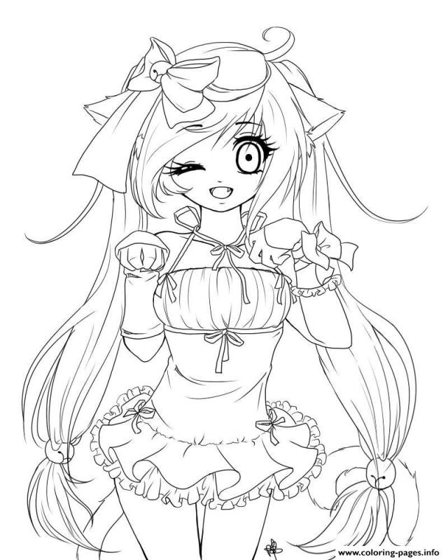 Anime Cat Girl Coloring Pages Printable