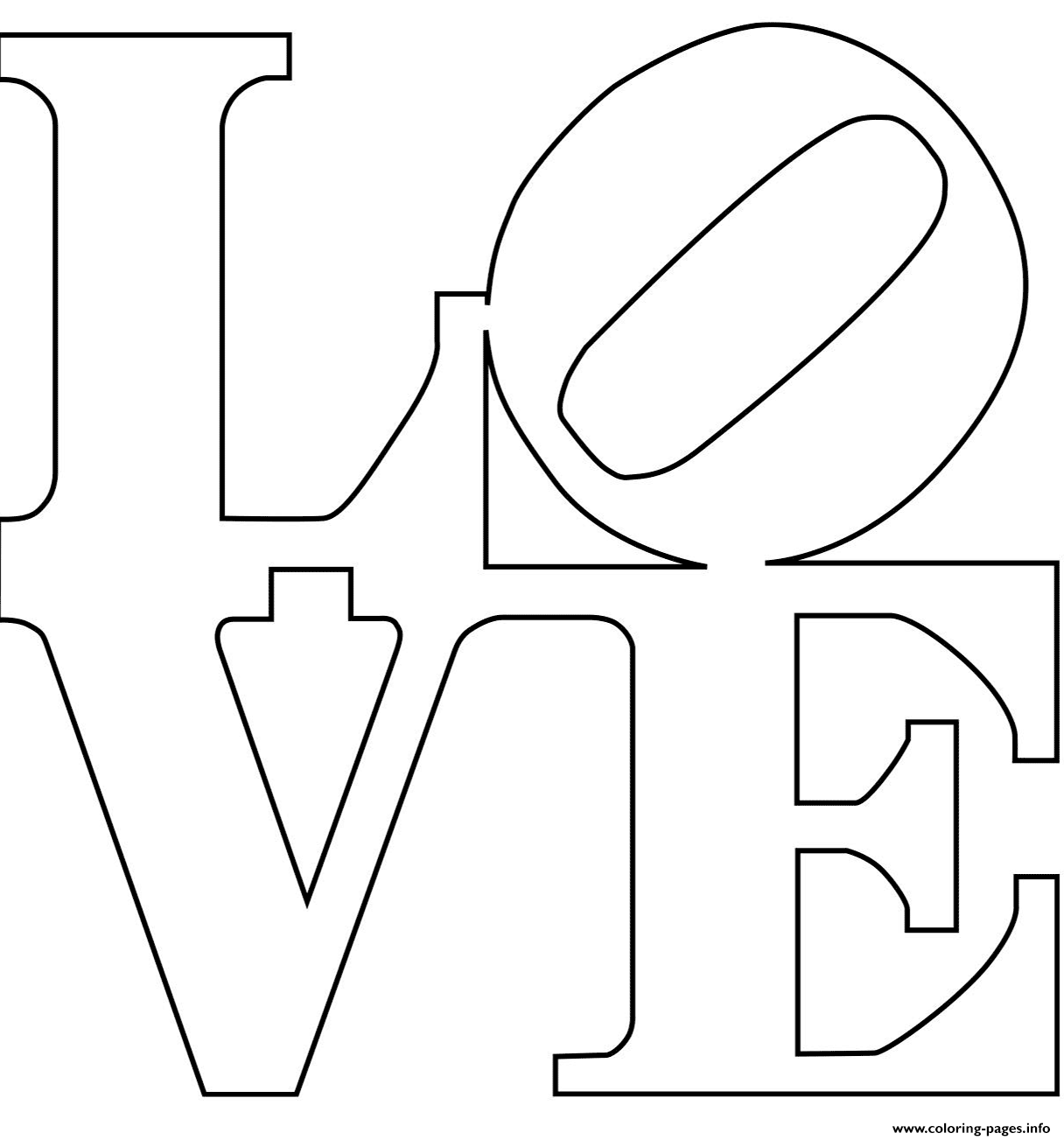 Robert Indiana Love Text Coloring Pages Printable