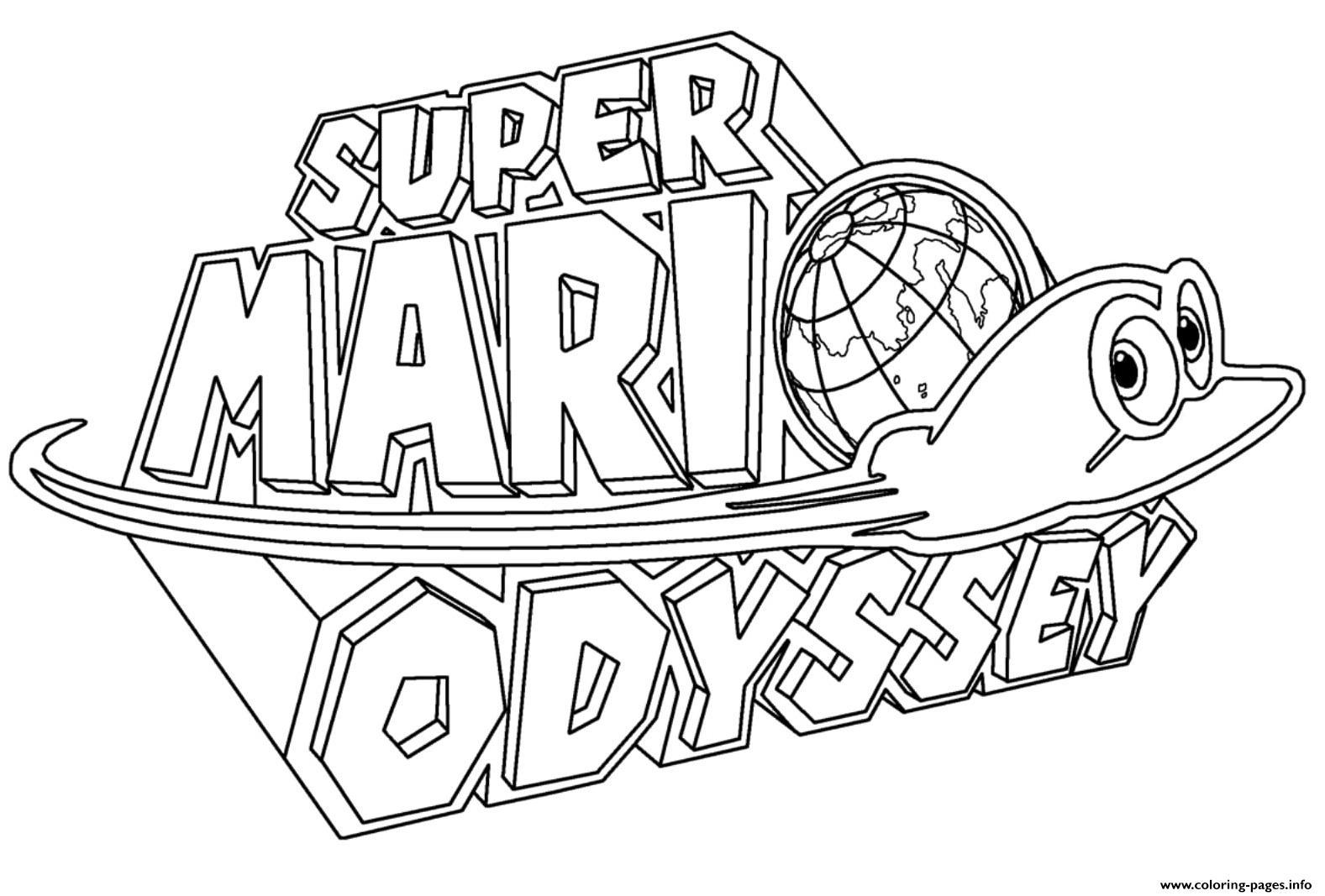 Super Mario Odyssey Logo Nintendo Coloring Pages Printable