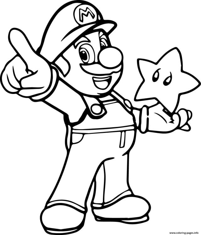 Super Mario With A Star Coloring Pages Printable