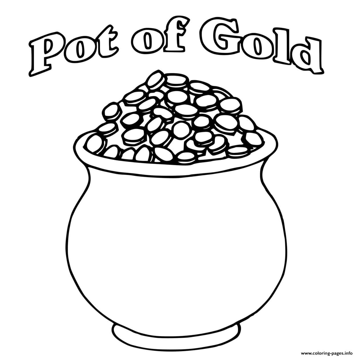 A Pot Of Gold Full Of Coins St Patricks Coloring Pages