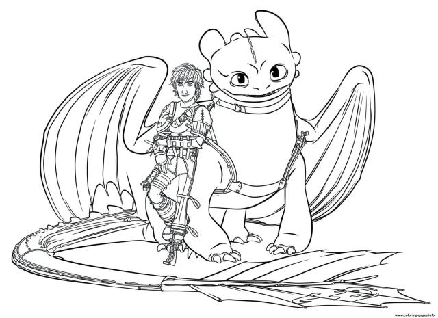 Hiccup Toothless Dragon 8 Coloring Pages Printable