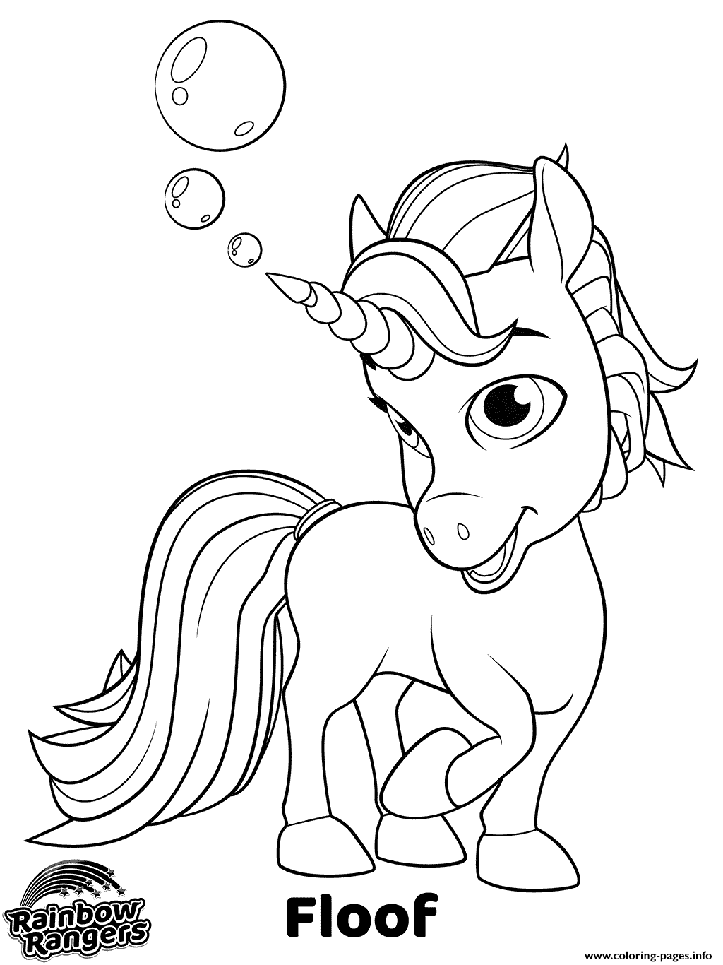 Rainbow Rangers Unicorn Floof Coloring Pages Printable