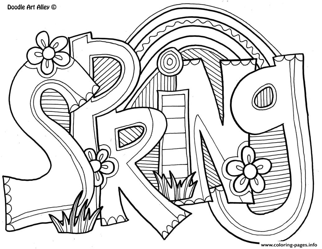 Spring Word Adult Coloring Pages Printable