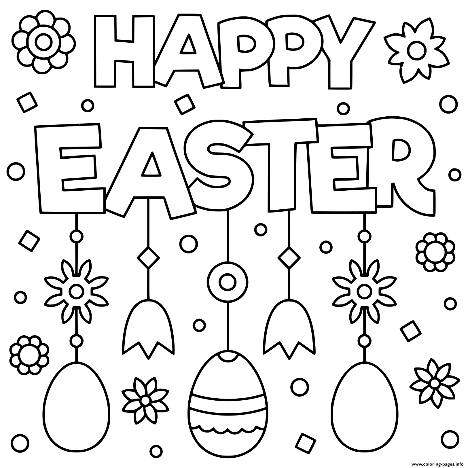 Happy Easter Egg Flowers Coloring Pages Printable