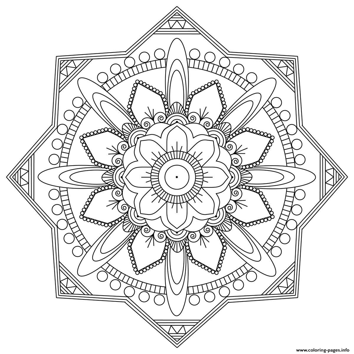 Simple Mandala Adult Easy Fun Coloring Pages Printable