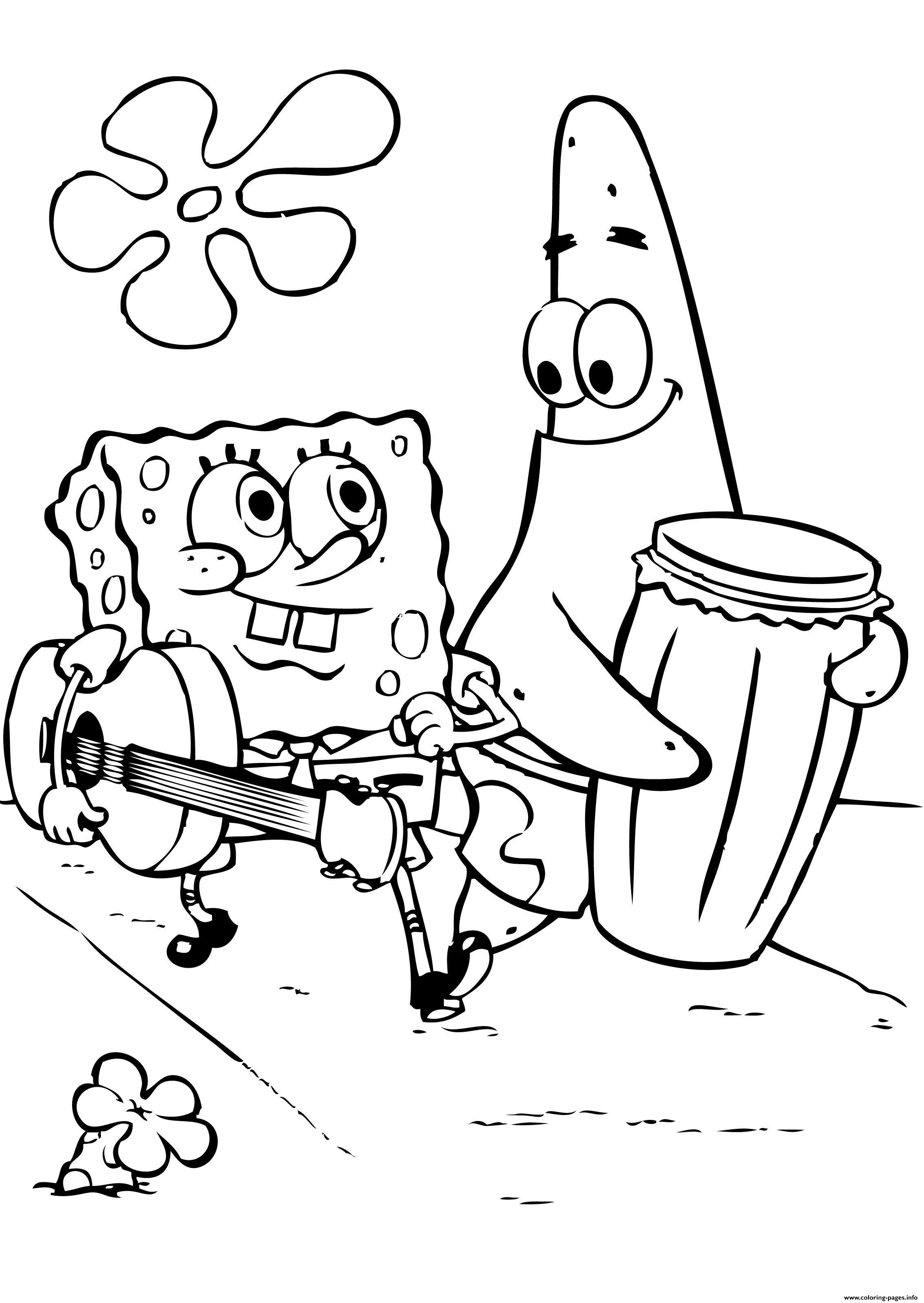 Spongebob And Patricks Play Music Coloring Pages Printable