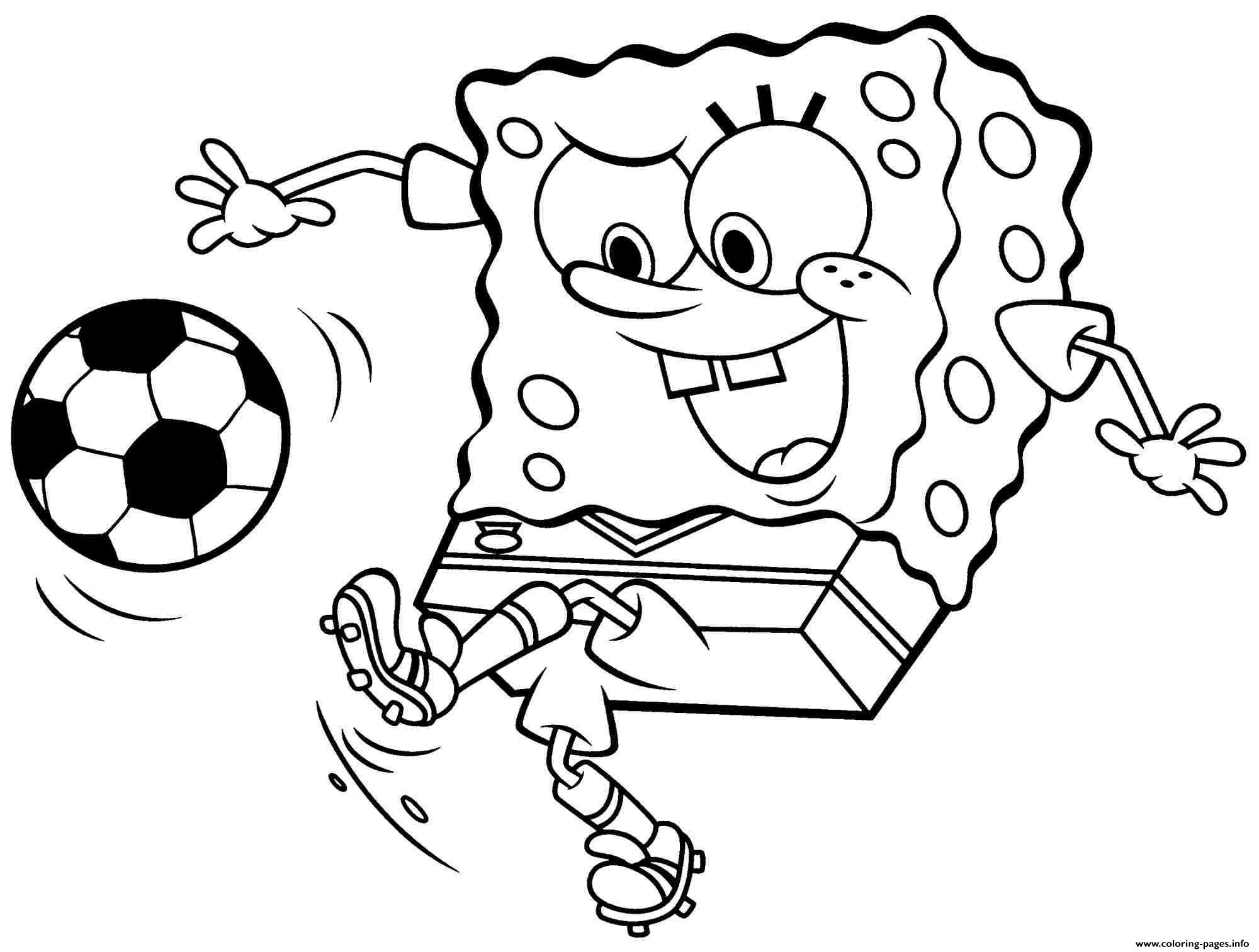 Spongebob Play Soccer Coloring Pages Printable