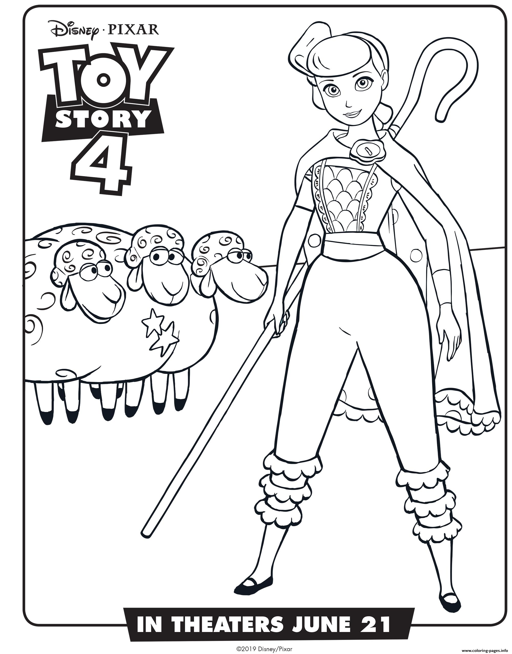 Toy Story 4 Bo Peep Coloring Pages Printable