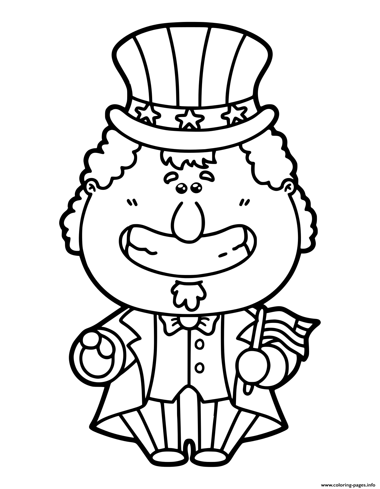 Funny Uncle Sam Cartoon Which Is Holding America Coloring