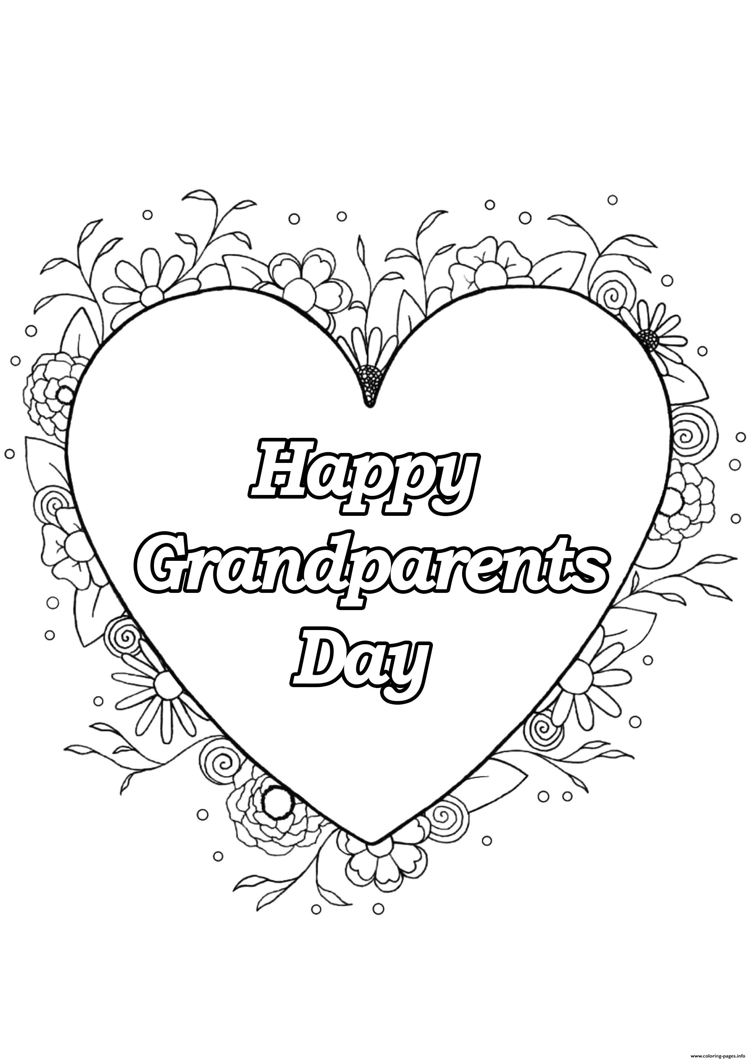 Heart Grandparents Day Love Coloring Pages Printable