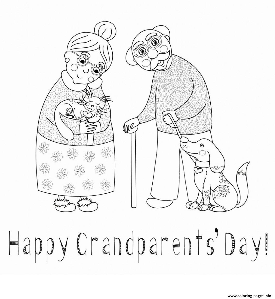 Happy grandparents day dog cat love coloring pages, i love you grandma coloring pages