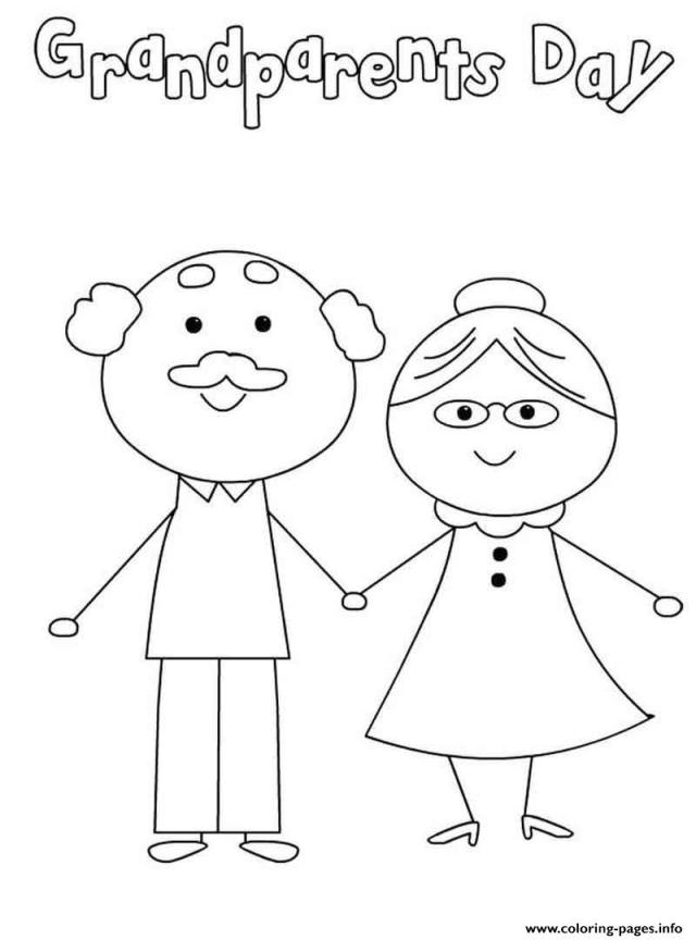 Happy Grandparents Day Cute Simple Coloring Pages Printable