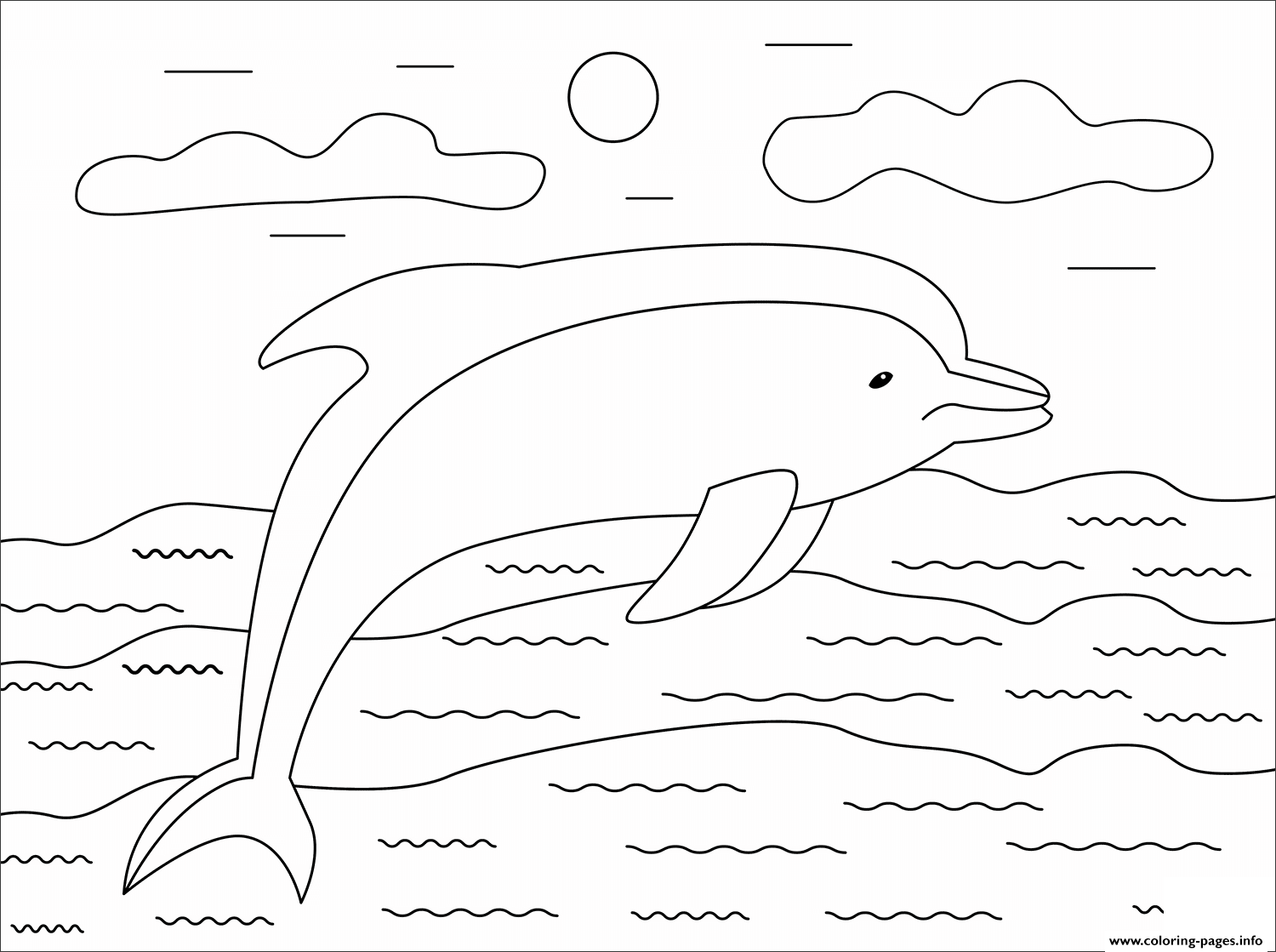 Dolphin Animal Simple Coloring Pages Printable