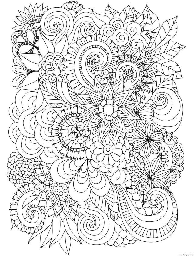 Flowers Adulte Difficult Complex Coloring Pages Printable