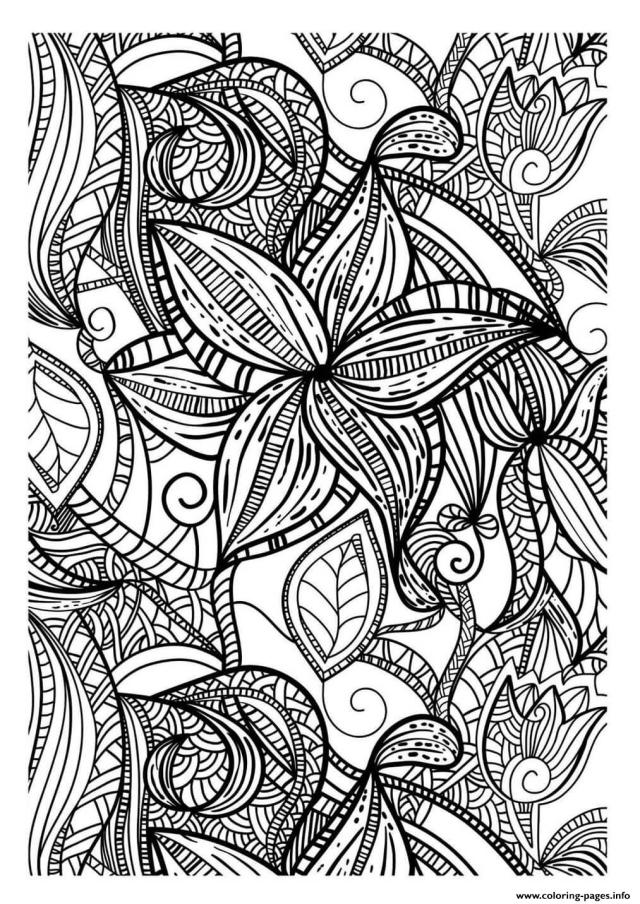 Abstract Elegant Pattern Adult Flowers Dark Coloring Pages Printable