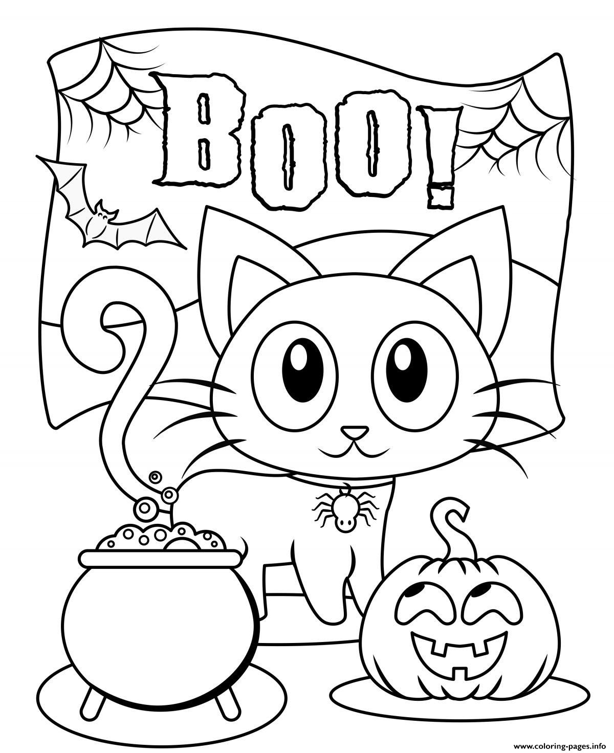 Halloween Boo Cat Cute Kids Coloring Pages Printable
