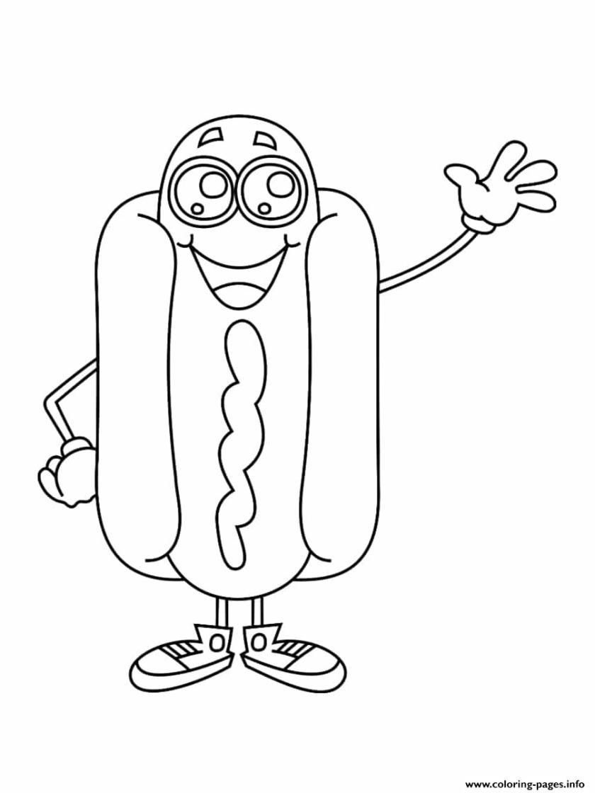 hotdog kawaii coloring pages printable