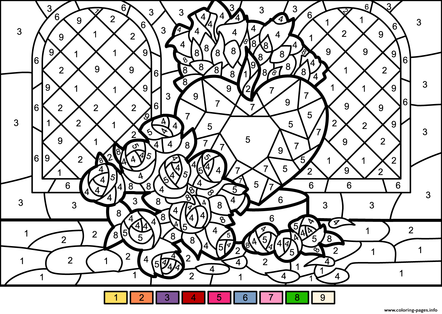 Roses And Heart Color By Number Coloring Pages Printable