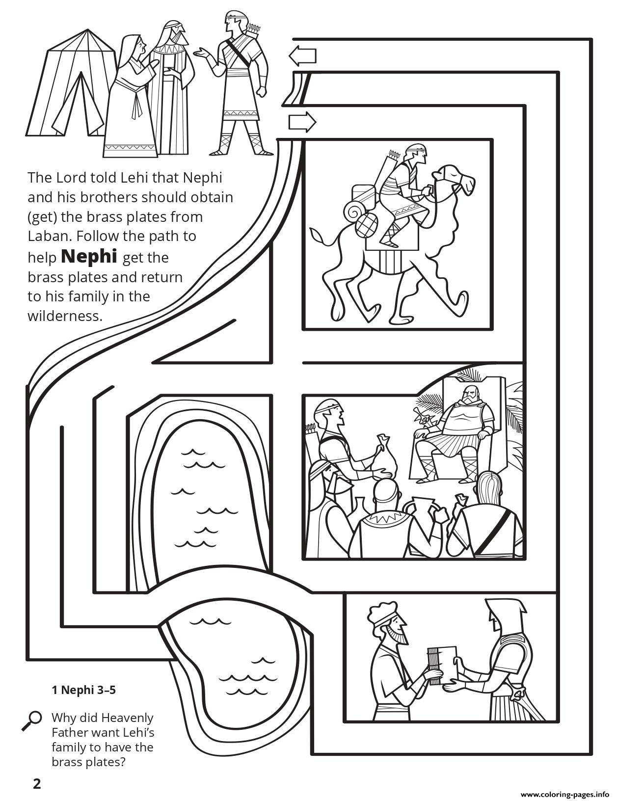 Help Nephi Get The Brass Plates Coloring Pages Printable