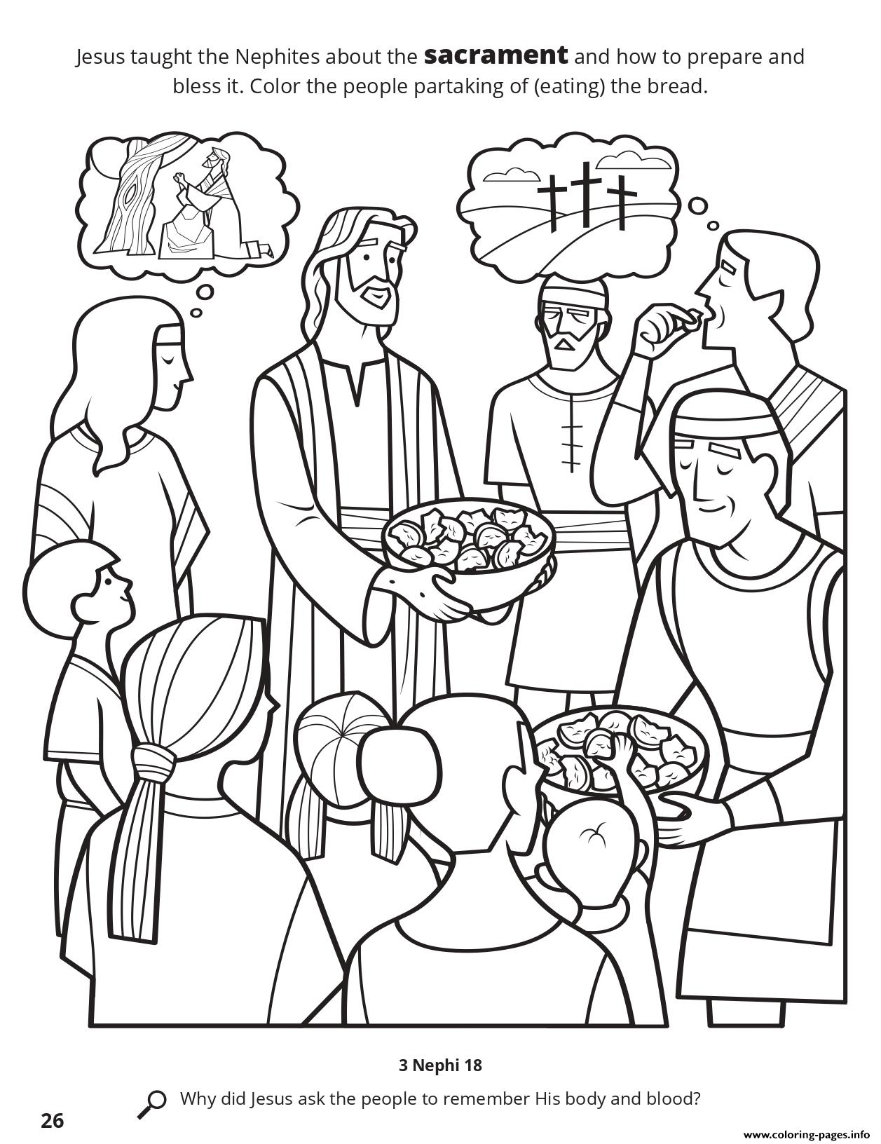 Jesus Taught The Nephites About The Sacrament Coloring
