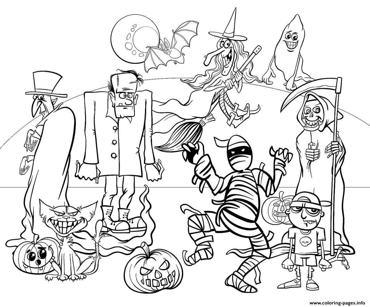 Halloween Characters For Kids Fun Coloring Pages Printable