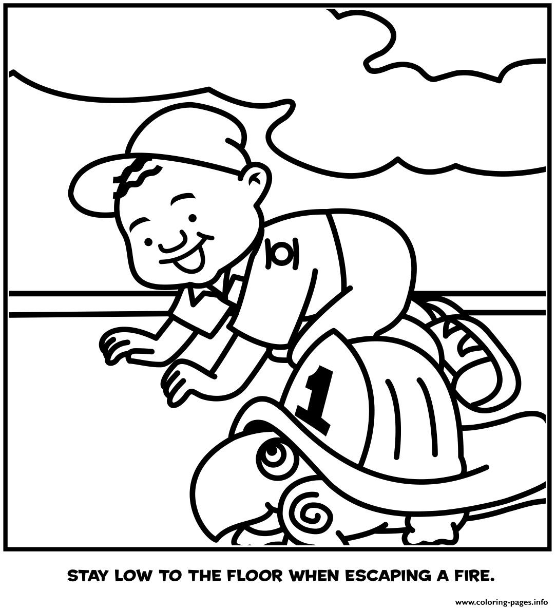 Stay Low To The Floor When Escaping A Fire Coloring Pages