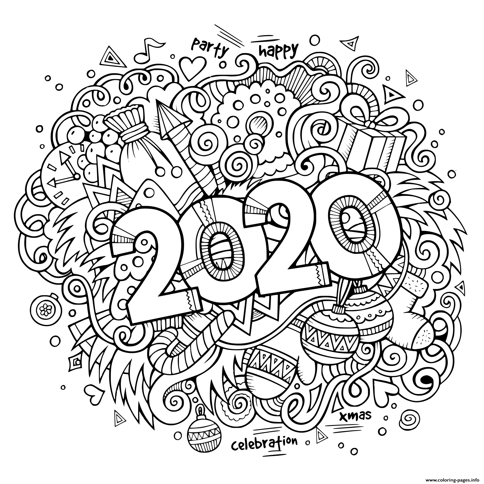 New Year Doodles Objects And Elements Poster Design