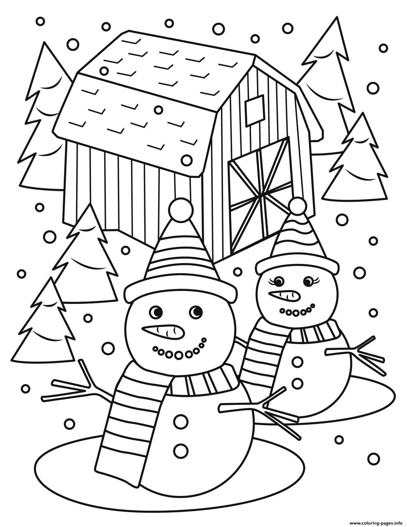 Christmas Mr And Mrs Snowman Coloring Pages Printable
