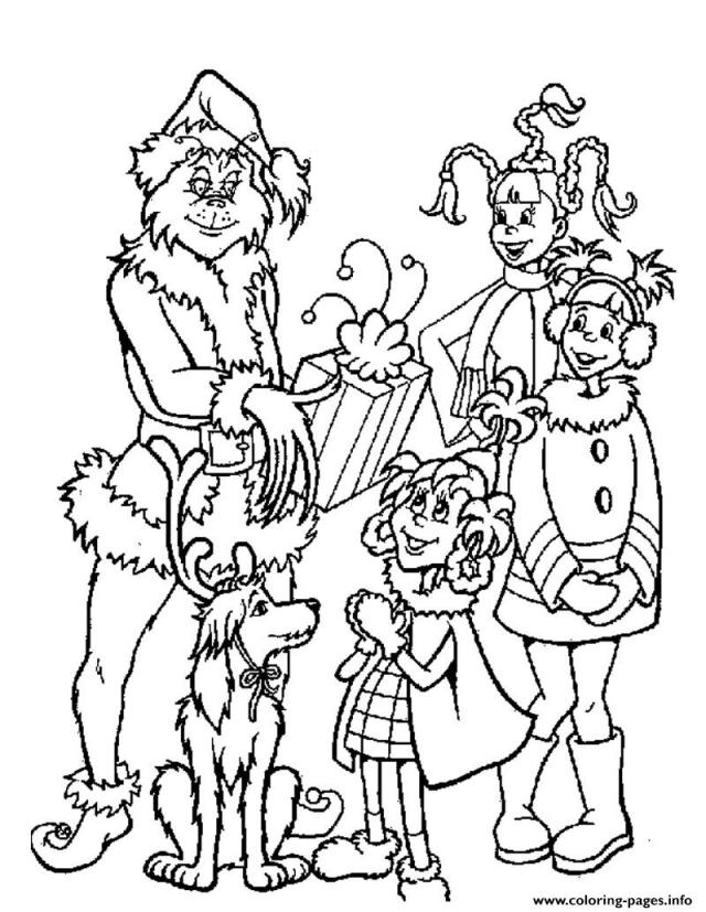 Grinch With Kids Gifts Coloring Pages Printable