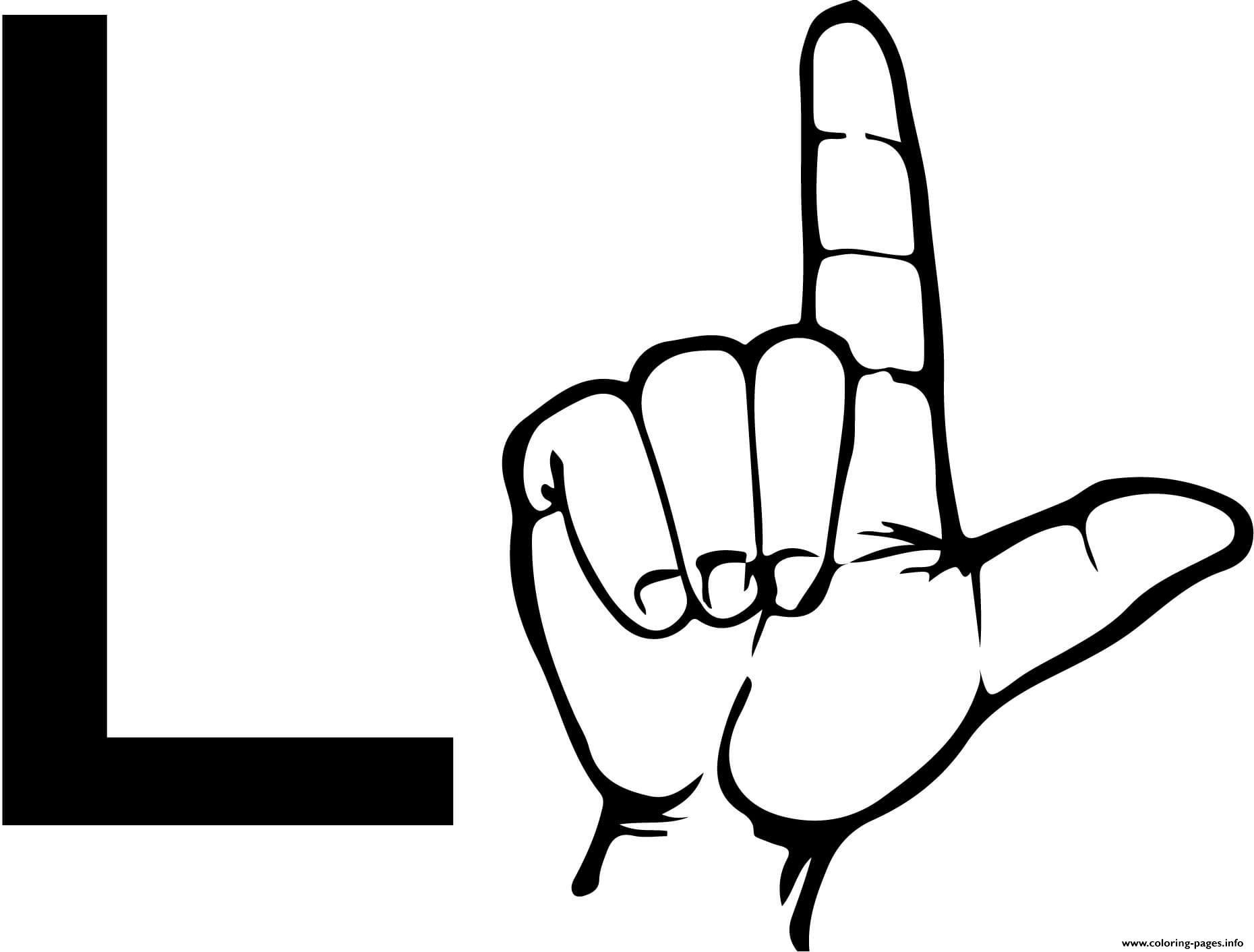 Asl Sign Language Letter L Coloring Pages Printable