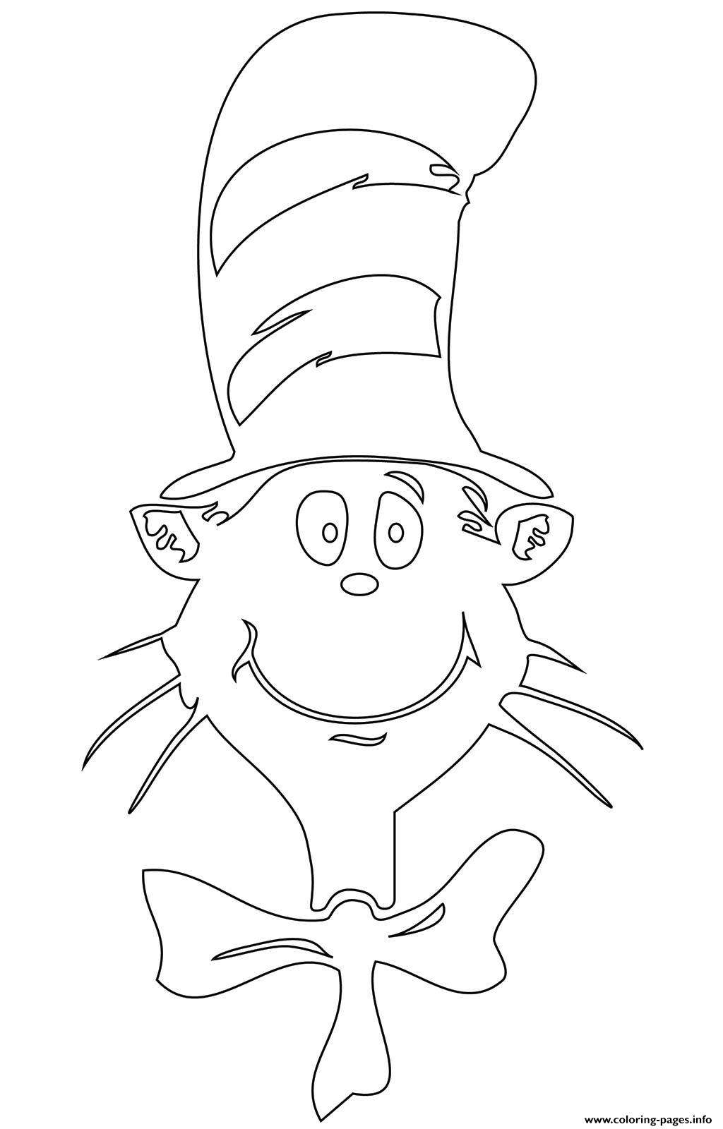 Cat In The Hat Face Coloring Pages Printable